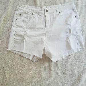 71ec2cff0f City Chic Shorts - Distressed City Chic white denim shorts
